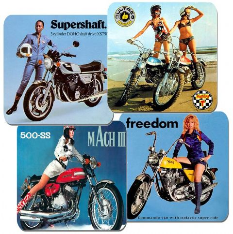Seventies Motorcycle Adverts Coasters Set Of 4. Motorbike Classic 70s Bike Girls